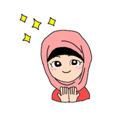 Happy Hijab Girl 1(Eng) sticker #1946788