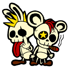Skull Punk Rock Mouse and rabbit