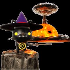Sticker of magician of black cat
