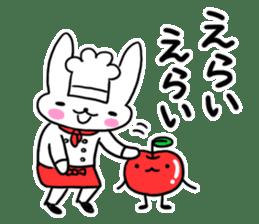Cheerful patissier's rabbit & apple sticker #2069902
