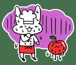 Cheerful patissier's rabbit & apple sticker #2069914