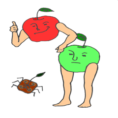 The red apple and green apple