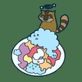 racoon loving a shape of cloud sticker #2106032