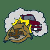 racoon loving a shape of cloud sticker #2106052