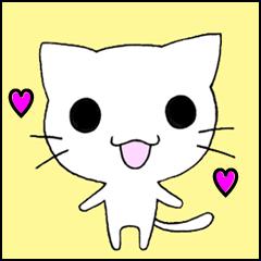 Very cute white cat sticker