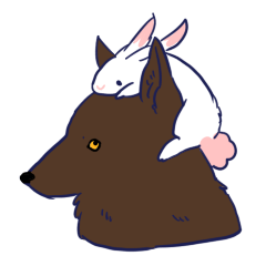 Sticker of the rabbit and wolf lonely
