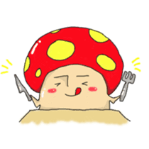 The resident mushroom in woods sticker #2139788