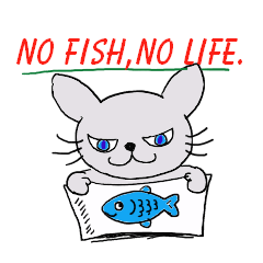 Fish and Mr. Nyanio of cute cat