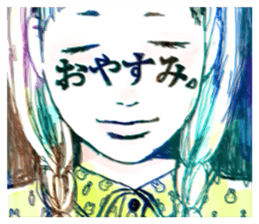 Special texts on girls faces by Fukuzawa sticker #2171873