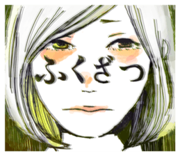 Special texts on girls faces by Fukuzawa sticker #2171877