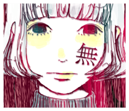 Special texts on girls faces by Fukuzawa sticker #2171879