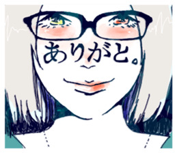 Special texts on girls faces by Fukuzawa sticker #2171880