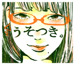 Special texts on girls faces by Fukuzawa sticker #2171886
