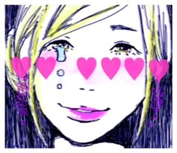 Special texts on girls faces by Fukuzawa sticker #2171891