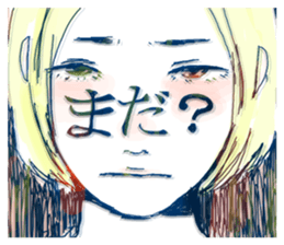Special texts on girls faces by Fukuzawa sticker #2171897