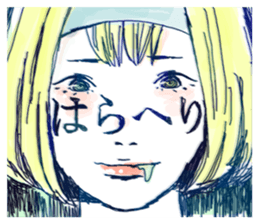 Special texts on girls faces by Fukuzawa sticker #2171901