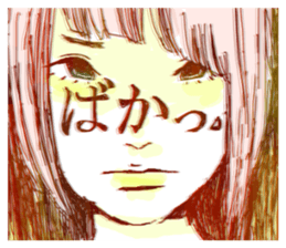 Special texts on girls faces by Fukuzawa sticker #2171902