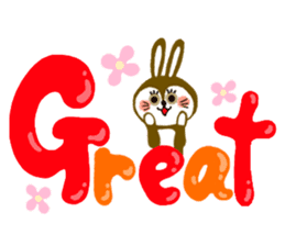 Rabbit & English Sticker sticker #2175875