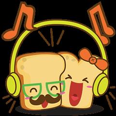 Mr and Mrs Toastee , cute toast sticker