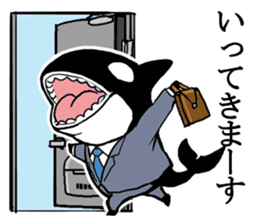 A Workaholic Orca. sticker #2195400