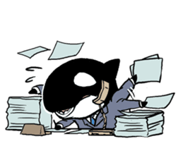 A Workaholic Orca. sticker #2195408