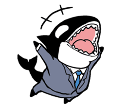 A Workaholic Orca. sticker #2195416