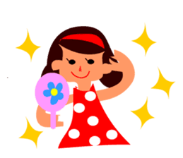 Girl with lots of happiness sticker #2199077