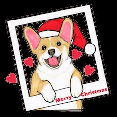 merry christmas corgi sticker - Christmas Corgi