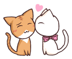Tabby cat & white cat sticker #2273737