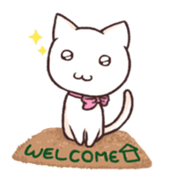 Tabby cat & white cat sticker #2273752