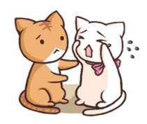 Tabby cat & white cat sticker #2273761