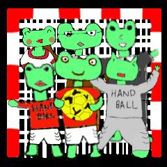 frog playing handball