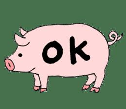 A pink pig and a black pig sticker #2405176