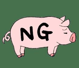 A pink pig and a black pig sticker #2405177