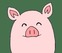 A pink pig and a black pig sticker #2405178