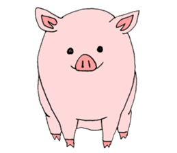A pink pig and a black pig sticker #2405180