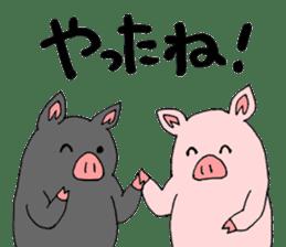 A pink pig and a black pig sticker #2405181