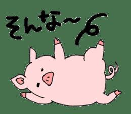 A pink pig and a black pig sticker #2405182