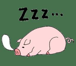 A pink pig and a black pig sticker #2405187