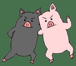 A pink pig and a black pig sticker #2405190
