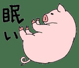 A pink pig and a black pig sticker #2405191