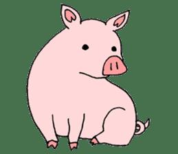 A pink pig and a black pig sticker #2405198