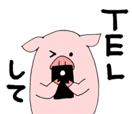 A pink pig and a black pig sticker #2405200