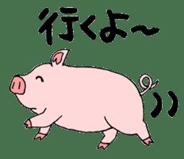A pink pig and a black pig sticker #2405204