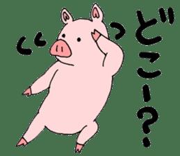 A pink pig and a black pig sticker #2405205
