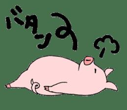 A pink pig and a black pig sticker #2405207