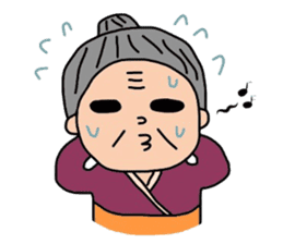 Various expressions of cool old woman sticker #2572691