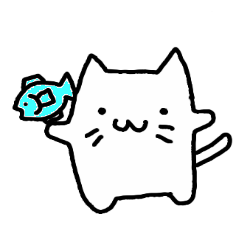 my white cat sticker