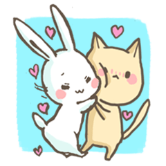 Everyday of rabbit and cat