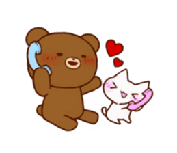 The bear and cat to love sticker #2888473